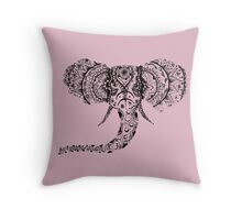Pastel Pink Elephant Mandala Throw Pillow