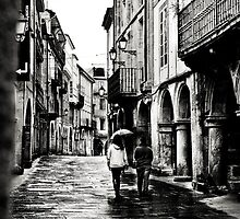Walking Santiago under the rain by julianl