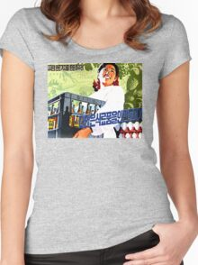 North Korean Propaganda - Beer and Eggs Women's Fitted Scoop T-Shirt