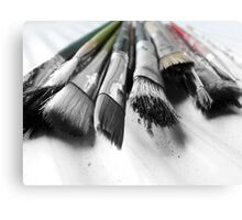 old worn paint brushes Canvas Print