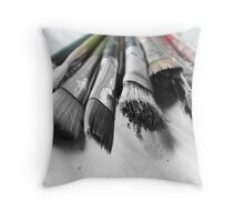 old worn paint brushes Throw Pillow