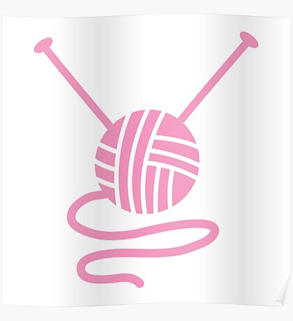 Ball of wool with knitting needles pink Poster