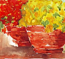 Marigolds and Geraniums by Maree Clarkson