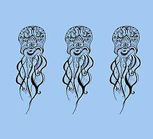 Pastel Blue Jellyfish Mandala by inklingsbyellie