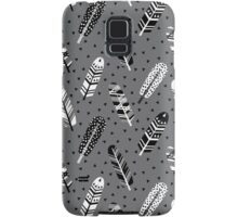 Feather geometric grey charcoal neutral modern pattern print dots geo scandinavian scandi pattern print Samsung Galaxy Case/Skin