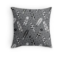 Feather geometric grey charcoal neutral modern pattern print dots geo scandinavian scandi pattern print Throw Pillow