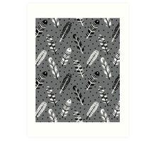 Feather geometric grey charcoal neutral modern pattern print dots geo scandinavian scandi pattern print Art Print