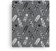 Feather geometric grey charcoal neutral modern pattern print dots geo scandinavian scandi pattern print Canvas Print