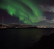 Sailboat and Aurora Borealis, Tromsø, Norway by Frank Olsen