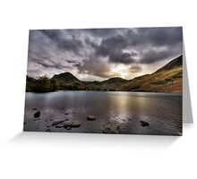 As the sun sets over Buttermere Greeting Card