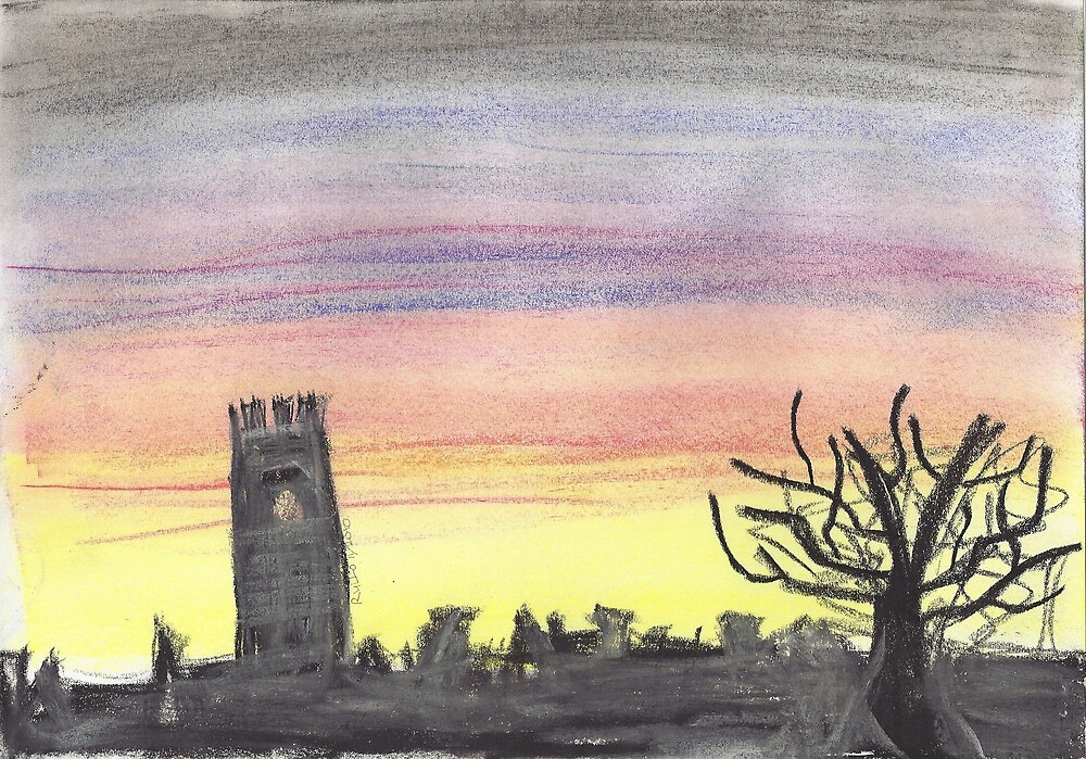sunset sihouette - chalk pastel by rullo