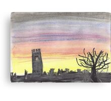 sunset sihouette - chalk pastel Canvas Print
