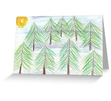 fir trees - oil pastels Greeting Card