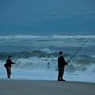 Fishing at sunset by jeffrae