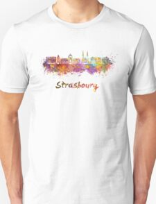Strasbourg skyline in watercolor T-Shirt