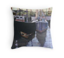 Boats at Gloucester Harbor  Throw Pillow