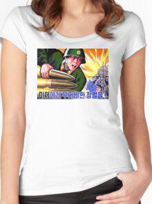 North Korean Propaganda - Big Shells Women's Fitted Scoop T-Shirt