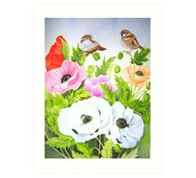 Sparrows and Icelandic Poppies Art Print