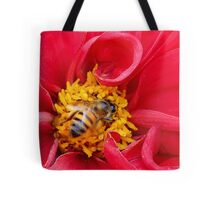 bee on a rose Tote Bag