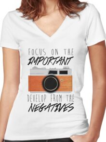 Life is Like a Camera Women's Fitted V-Neck T-Shirt