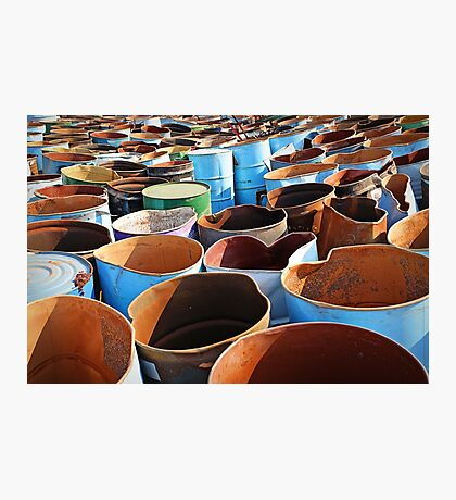 Discarded oil barrels Photographic Print