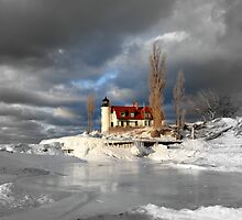 Winter at Point Betsie Lighthouse by Debbie  Maglothin