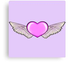 Love Wings Design Pink Canvas Print