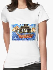 Pirate Boat Womens Fitted T-Shirt