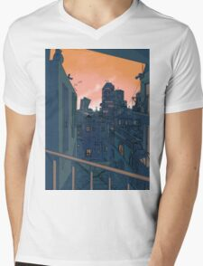Cityscape in the Evening Mens V-Neck T-Shirt