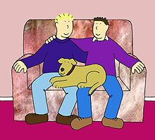 Gay anniversary, couple with dog on sofa. by KateTaylor