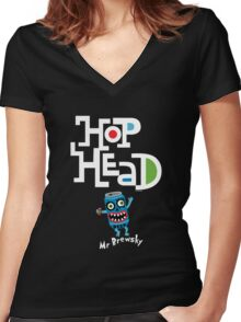 Hop Head (Mr Brewsky) - on darks Women's Fitted V-Neck T-Shirt