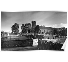 Church sitting on hill. Poster