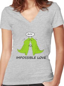 Impossible Love- T-rex edition  Women's Fitted V-Neck T-Shirt