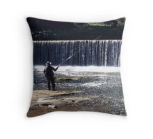 Fishing on the River Coquet Throw Pillow