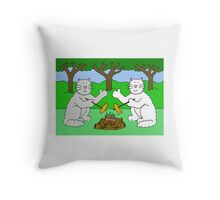 Two cats toasting fish by a camp fire. Throw Pillow