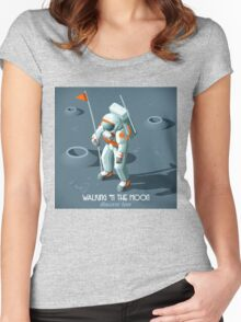 Isometric Moonwalking Astronaut Women's Fitted Scoop T-Shirt