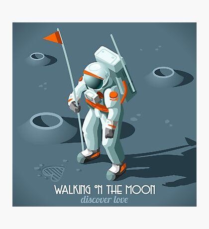 Isometric Moonwalking Astronaut Photographic Print