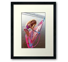 Pink Barbie surfing Framed Print