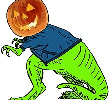 Cool T-Rex with the Jack O Lantern Head by Rob Cox