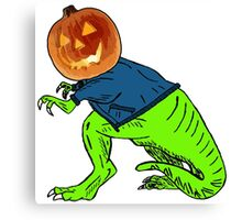 Cool T-Rex with the Jack O Lantern Head Canvas Print
