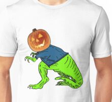 Cool T-Rex with the Jack O Lantern Head Unisex T-Shirt