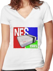 "Nintendo "" NES "" / Fun since 1985 Women's Fitted V-Neck T-Shirt"