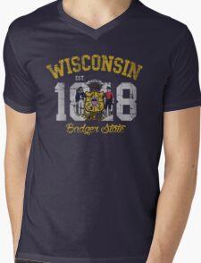 Vintage Wisconsin Badger State Mens V-Neck T-Shirt