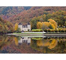 Rich Fall Colors Reflected... Chateau de Gibanel Photographic Print