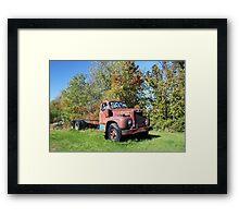 Old Red Mack Truck Framed Print