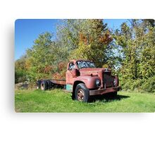 Old Red Mack Truck Canvas Print