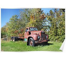 Old Red Mack Truck Poster