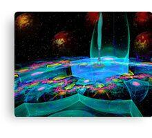 Space Blocks & Fireballs Canvas Print