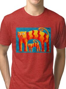 Curved Cats Tri-blend T-Shirt