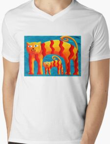 Curved Cats Mens V-Neck T-Shirt